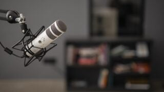 side view radio microphone with copy space